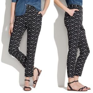 Madewell Black Printed Delancey Trousers Chevron 8